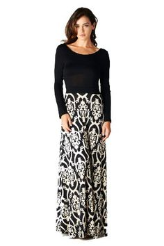 495ce6f0f78c On Trend Seasons Change Long Sleeve Maxi Dress Black and White Damask Floor  Length (Small