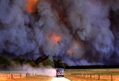 Photograph by Alex Coppel, My Shot A fire truck quickly leaves the scene of the mammoth Black Saturday bushfires in Victoria, Australia. The fires claimed nearly 200 lives and homes in Bushfires In Australia, Black Saturday, Wild Fire, Into The Fire, Weather Underground, Victoria Australia, Extreme Weather, Natural Disasters, Natural Phenomena