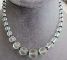 Vintage 1930s Graduated Frosted Camphor Glass Bead Necklace