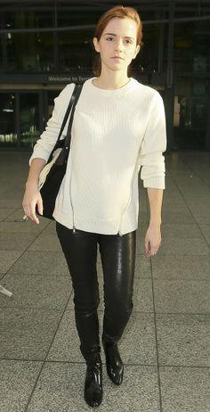 Emma Watson in J Brand Pull On Leather Leggings & a Cut25 by Yigal Azrouel sweater