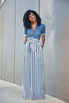 Stripes make your legs long and look extra stylish. | What to Wear to get Longer Looking Legs