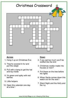 christmas crossword for kids - Holiday Printable Puzzles