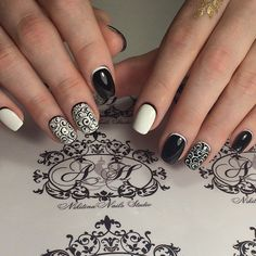 Black and white nail ideas, Black dress nails, Contrast nails, Dating nails, Elegant nails, Evening dress nails, Fashion nails 2016, Luxurious nails