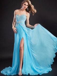 (FITS0257418)2013 Style A-line Sweetheart  Beading  Sleeveless Floor-length Chiffon Prom Dresses / Evening Dresses