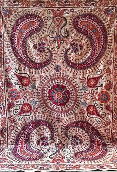 American Houses, Contemporary Embroidery, Ikat Fabric, Fabric Strips, Central Asia, Handmade Pillows, Traditional Art, Grape Vines, Hand Embroidery