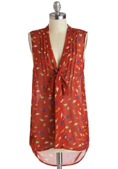Slow and Behold Top - Long, Sheer, Red, Orange, Green, Blue, Print with Animals, Tie Neck, Work, Quirky, High-Low Hem, Sleeveless, Red, Sleeveless
