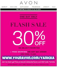 #FLASHSALE... #FREE shipping on a $25 order from my #Avon estore! #TODAYONLY Use #code: FLASH at checkout!
