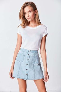 Shop BDG Denim Button-Front Skirt at Urban Outfitters today. We carry all the latest styles, colors and brands for you to choose from right here. Button Front Denim Skirt, A Line Denim Skirt, Denim Skirt Outfits, A Line Skirts, Maxi Skirts, Dress Skirt, Denim Skirts, Short Skirts, Playsuit