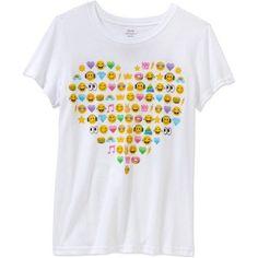 Girls' Many Mini Emoji Heart Short Sleeve Crew Neck Graphic T-Shirt, White