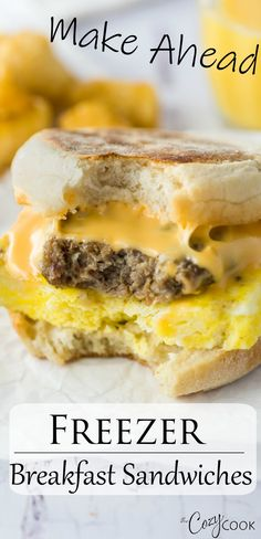 Make Ahead Breakfast Sandwiches - These breakfast sandwiches are easy to make ahead of time and pop in the freezer for an easy breakf - Make Ahead Breakfast Sandwich, Camping Breakfast, Breakfast On The Go, Breakfast Slider, Mexican Breakfast Recipes, Breakfast Dishes, Brunch Recipes, Cocktail Recipes, Lunch Snacks