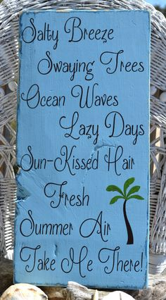 "New Beautiful Beach Decor Sign, Perfect for any Coastal, Nautical or Beach Theme Room, 20"" x 9"" Hanging, Hand Painted Sign. $45.00, via Etsy."