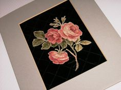Vintage 50 year OLD Rose Applique Stitched by AuntJennysAttic