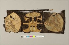 Textile fragment from Strängnäs domkyrka Södermanland, Sweden. It is described as being a double-woven fabric in wool and linen, ca. 1100 - 1499 CE. Deposition från Nordiska museet (NM 9926) Statens Historiska Museet, via Kringla.