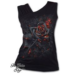 New in - Burnt Rose Vest http://www.the-gothic-shop.co.uk/burnt-rose-gathered-shoulder-slant-vest-spiral-direct-p-8226.html #The_Goth_Life #goth #gothic #dark #vampire #werewolf