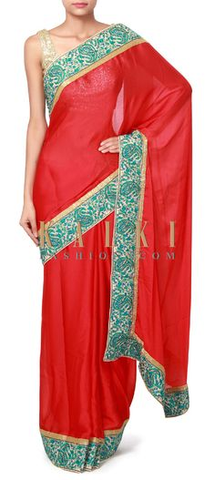 Buy Online from the link below. We ship worldwide (Free Shipping over US$100). Product SKU - 310351. Product Price - $119.00. Product link - http://www.kalkifashion.com/red-saree-featuring-with-resham-embroidered-border-only-on-kalki.html