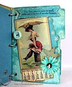 Vintage Beach Journal Tutorial with a bunch of photos by Kathybydesign.com for Crafty Secrets July Blog Hop and Challenge