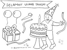Gambar Mewarnai Ulang Tahun Coloring Books, Projects To Try, Places To Visit, Education, Comics, Drawings, Party, Animals, House
