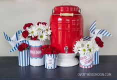 4th of July Free Printable soup can wrappers. Easy and inexpensive decor!