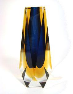 Facetten Block Glas Vase 3-fach Sommerso FLAVIO POLI Murano Italy 1950-60