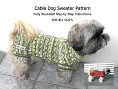 Cable Dog Sweater Pattern/ DIY Dog Sweater/ Hand Knit by majStyle, $22.00