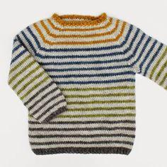 """Tusindfryds """" Stribede Lama """"-strikkeopskrift på sweater med striberog raglanærmer.Let Strikkelig også for begyndere.Str. 1-9 År Opskrift på denne stribede sweater strikket i Lamauld Fra CaMaRos"""