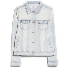 MANGO Bleached Denim Jacket (2.080 RUB) ❤ liked on Polyvore featuring outerwear, jackets, mango, jackets and blazers, tops, button jacket, mango jackets, bleached denim jacket, one-button blazer and mango blazer