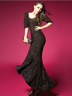 Amazing Solid Color Half Sleeve Backless Slim Long Fishtail Dress Black