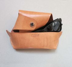 Yummy Light Brown Colour Croissant Leather by CaramelLeatherCrafts, $54.00
