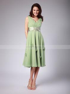 V Neck Chiffon Tea Length Bridesmaid Dress with Rosettes 0114025