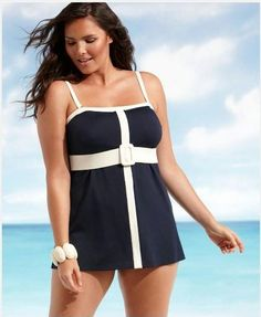 Fashionable Plus Size Bathing Suits | ... Size Swimsuit, Up Up And Away Piped Swimdress – Plus Size Fashion