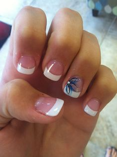 Acrylic White Tips With Pink Flower Accent Nail Nails Acrylic