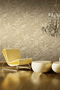 A shimmering gold wallpaper featuring palms in shades of white and gold, giving it depth and texture.