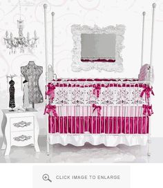 Caden Lane Bedding Sophie Crib Set available at Polka Dot Peacock #nursery #crib #pink
