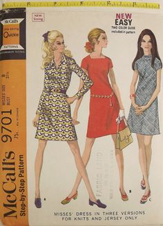 Vintage 60's Sewing Pattern Misses A-line by SuzisCornerBoutique