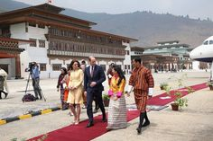 Prince William, Duke of Cambridge and Catherine, Duchess of Cambridge arrive into Paro International Airport for the first day of a two day visit to Bhutan on April 14, 2016 in Paro, Bhutan.