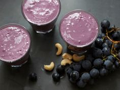 Concord Grape Smoothie: Sweet and festive thanks to the rich purple color, this smoothie is perfect to serve as a healthy treat