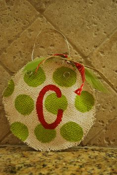 burlap christmas ornaments...like the door hangers, only smaller! love it!