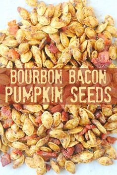 These bourbon bacon pumpkin seeds are the best roasted pumpkin seeds I have ever tasted. They are sweet, salty, smokey and incredibly addicting! | Foodtastic Mom #halloween #halloweenrecipes #pumpkin #pumpkinseeds #pumpkinrecipes