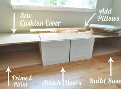 Building a window seat out of Ikea cabinets- Banquette building ideas Home Improvement Projects, Home Projects, Ikea Bench, Diy Bench, Bench Seat, Window Benches, Window Seats, Refrigerator Cabinet, Window Seat Kitchen