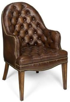 Capitol Leather Guest Chair is the perfect accent for an office or any other living space, providing both comfort and style. Button tufted hand-rubbed Derby Prairie Meadow brown leather, nailhead trim and Old World finish complete the look.