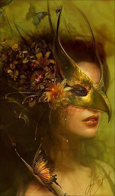 Linda Bergkvist - Bird beak mask, yellow butterfly flowers