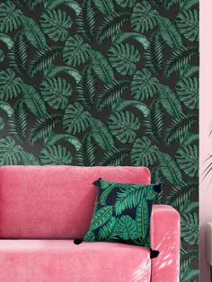 This Skinnydip Dominica Tropical Leaf Wallpaper is a perfect on-trend tropical print to bring style to any room. This sophisticated design features a stunning pattern of palm leaves and cheese plant leaves in various tones of dark green, set on a soft matte black background. Easy to apply by pasting the wall, this high quality paper would look great when used to create a feature wall or to decorate a whole room.
