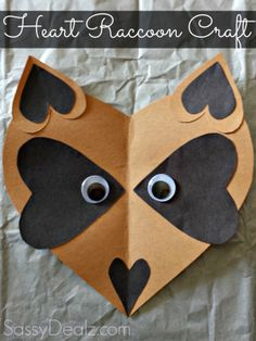 Kissing hand. paper heart raccoon craft for kids
