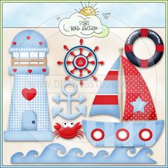 Good Ship Lollipop Sea 1 - NE Kristi W. Designs Clip Art - Click Image to Close