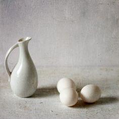 Three eggs and a pitcher still life Fine art by GordanaPhoto