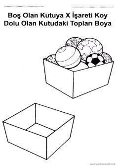 Boş Dolu Kavramı, empty and full worksheets free printabless