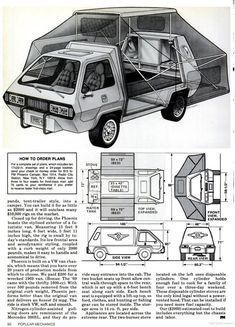If you prefer your camper van to have gull-wing doors, be bright orange  with a Phoenix bird branded on the side and look awesomely futuristic. Look  no further the Phoenix Camper Van from 1979 is for you.  via Cartype / RQRiley / Loud Pop Voyager / Popular Mechanics