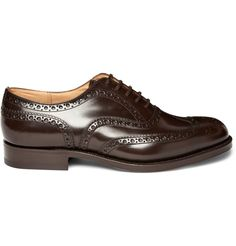 Church's  BURWOOD WINGTIP BROGUES  Rich brown wingtip leather Church's brogues with leather soles and decorative brogue perforation throughout. While brogues - and brown shoes generally - are often considered to be weekend footwear, these are smart enough to be worn with a navy or grey suit to the office.