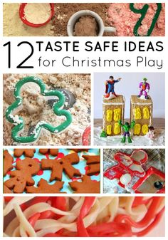 Christmas sensory play ideas that are taste safe! Toddlers and preschoolers will love these fun sensory play ideas this holiday! Moms and teachers that need fresh ideas for home or classroom sensory play will find it here! Grab some fun ideas for Christmas play today! #christmas #sensoryplay #toddlers #preschoolers #teachers #momhacks #christmasideas