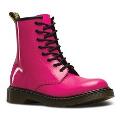Martens Youth 1460 Patent Leather Lace Up Boots in Hot Pink Patent Lamper Dr. Martens, Doc Martens Boots, Doc Martens Rose, Leather And Lace, Patent Leather Boots, Patent Shoes, Leather Booties, Low Boots, Combat Boots